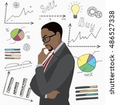 black businessman thinks about...   Shutterstock .eps vector #486527338