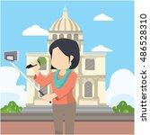 girl selfie infront les...   Shutterstock .eps vector #486528310