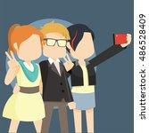 three celebrity taking selfie | Shutterstock .eps vector #486528409