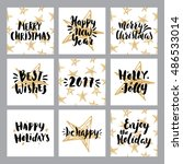 set of merry christmas and... | Shutterstock .eps vector #486533014