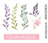 hand drawn watercolor floral... | Shutterstock . vector #486533824