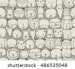 set of animal faces  sketch for ... | Shutterstock .eps vector #486535048