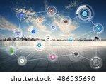 smart city and wireless... | Shutterstock . vector #486535690