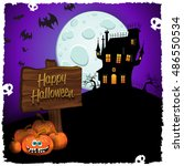 halloween castle with cartel... | Shutterstock . vector #486550534