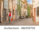 middle aged woman with shopping ... | Shutterstock . vector #486550720