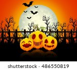 halloween background with happy ... | Shutterstock .eps vector #486550819