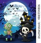 halloween background with grim... | Shutterstock . vector #486554806