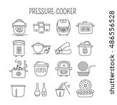 hand drawn thin line icons set  ... | Shutterstock .eps vector #486556528