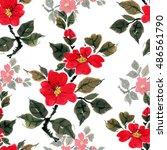 seamless floral pattern... | Shutterstock . vector #486561790