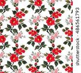 seamless floral pattern... | Shutterstock . vector #486561793