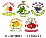 best fresh juicy fruits. vector ... | Shutterstock .eps vector #486566386