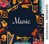 music poster with wind and... | Shutterstock .eps vector #486566440