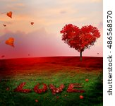 tree of love in autumn. red... | Shutterstock . vector #486568570