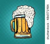 foamy mug of beer pop art retro ... | Shutterstock .eps vector #486571984