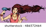 young female drying hair... | Shutterstock .eps vector #486572464