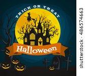 halloween background. horror... | Shutterstock .eps vector #486574663