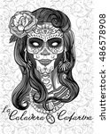 woman with sugar skull makeup ... | Shutterstock .eps vector #486578908