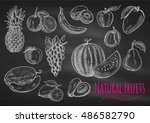 fruits chalk sketch on... | Shutterstock .eps vector #486582790