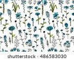 floral seamless pattern  sketch ... | Shutterstock .eps vector #486583030