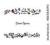floral frame  sketch for your... | Shutterstock .eps vector #486583093