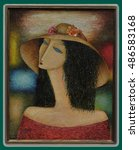 the lady in the hat. the... | Shutterstock . vector #486583168