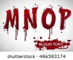 vector blood alphabet is... | Shutterstock .eps vector #486583174