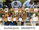 group of people dining concept | Shutterstock . vector #486585970