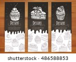 bakery desserts and sweets... | Shutterstock .eps vector #486588853