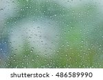 waterdrops on a glass surface... | Shutterstock . vector #486589990