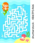 maze game. help mermaid find...   Shutterstock .eps vector #486591466