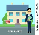 real estate broker at work.... | Shutterstock .eps vector #486592060