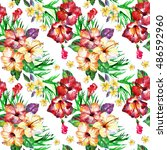 tropical pattern with exotic... | Shutterstock . vector #486592960