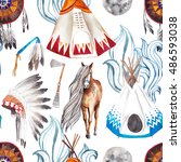 native american traditional art ... | Shutterstock . vector #486593038