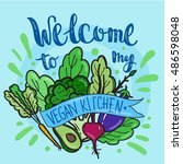 colorful vegan poster with... | Shutterstock .eps vector #486598048