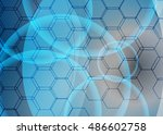 blue abstract template for card ... | Shutterstock . vector #486602758