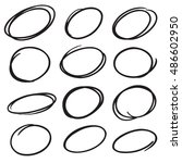 hand drawn vector marker circles | Shutterstock .eps vector #486602950