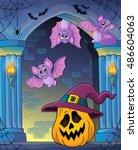 pumpkin in witch hat theme... | Shutterstock .eps vector #486604063