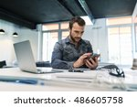man using a app mobile phone in ... | Shutterstock . vector #486605758