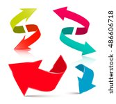 arrow set    3d vector arrows... | Shutterstock .eps vector #486606718