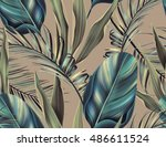tropical colorful background... | Shutterstock . vector #486611524