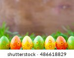 easter eggs standing in a line... | Shutterstock . vector #486618829