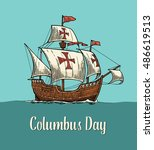 sailing ship floating on the... | Shutterstock .eps vector #486619513