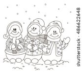 coloring. three snowman. | Shutterstock .eps vector #486622648