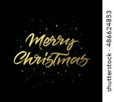 merry christmas greeting card.... | Shutterstock .eps vector #486624853