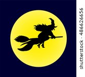 witch on broomstick yellow moon | Shutterstock . vector #486626656