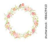 wreath with flowers ranunculus  ... | Shutterstock .eps vector #486629410