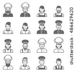 people occupations icons. cook... | Shutterstock .eps vector #486629620