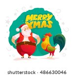 vector santa and funny rooster... | Shutterstock .eps vector #486630046