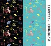 seamless autumn city pattern... | Shutterstock .eps vector #486630556
