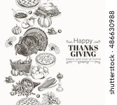 vector hand drawn thanksgiving... | Shutterstock .eps vector #486630988